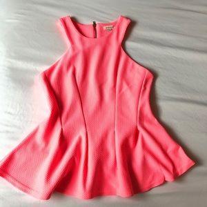 Neon pink peplum top